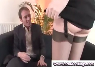 older chick in nylons shows off her