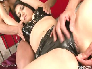 leather clad maria is slowly stripped showed and