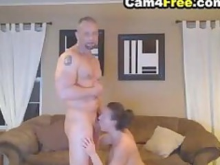 deepthroating woman made him cumshots into her