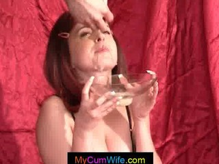 housewife drinking inexperienced bukkake