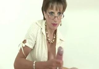 femdom stocking brit sonia tugjob and jizz flow