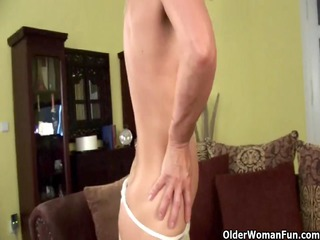 blond old in nylons disrobes off and pleases
