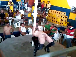 hirsute lady is dancing showed into openair