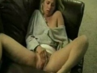 naughty lady masturbate and shooting on sofa