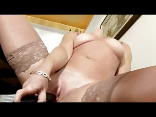 lady cums inside her nylons