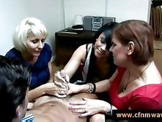 two lady teach a girl how to wank a boy