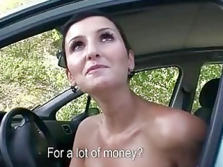 horny milf gangbanged into public for money