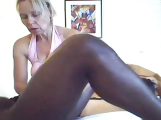 mom gives a massage and handjob to ebony male