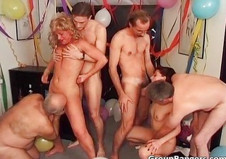 party fuckfest with ginger and blond milf