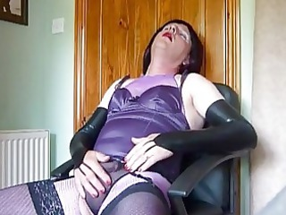grown-up crossdresser inside purple panties