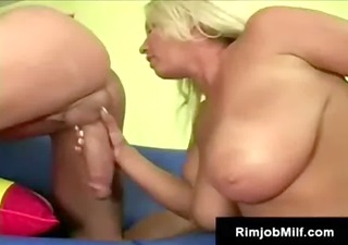 breasty aged blond freak surprises dude with