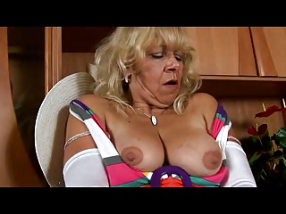 elderly inside clean pantyhose pleases with cave