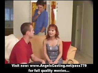 redhaired milf as bride does blowjob for big guy