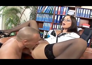 secretary with glasses haunch high nylons and