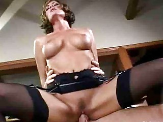 woman tramp with huge breast inside nylons has