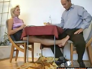 grownup blond bitch rubbing small cock with her