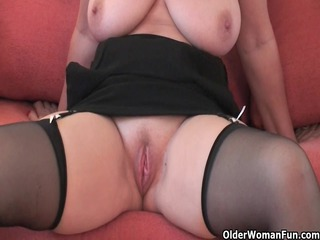 impressive grandma inside nylons shows her big