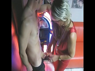 older makes handjob and blowjob at the christmas