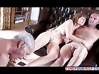 granny cuckold suck both lady and master foot