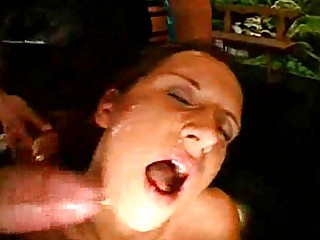 bukkake cumshots group fuck with a milf!