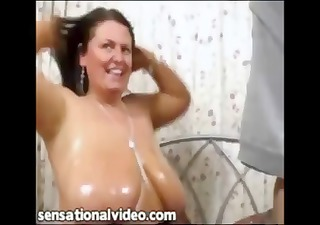 bulky busty british wife receives oiled up and