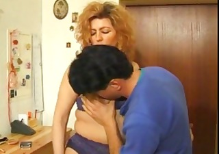 chubby redhead is getting drilled in the washroom