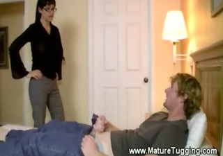 hawt milf jerks off her younger paramours biggest