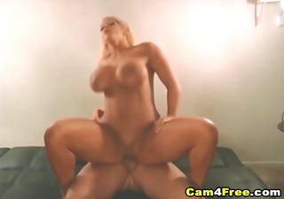 ball cream sprayed all over her massive rack hd