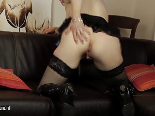 british grownup lady pleasing with her plastic