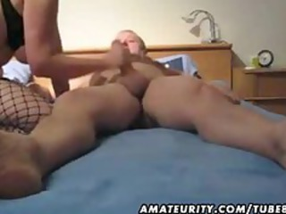 mature woman playing fucking and giving handjob