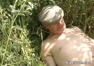 outdoor sex threesome action with old
