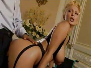 blond woman inside stockings adores some doggy