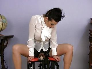 naughty woman having on satin bangs mechanism